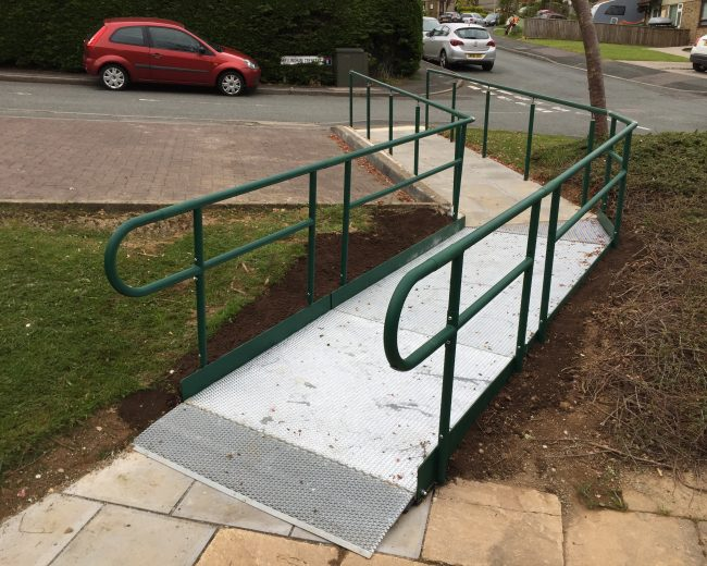 public access ramp and handrails