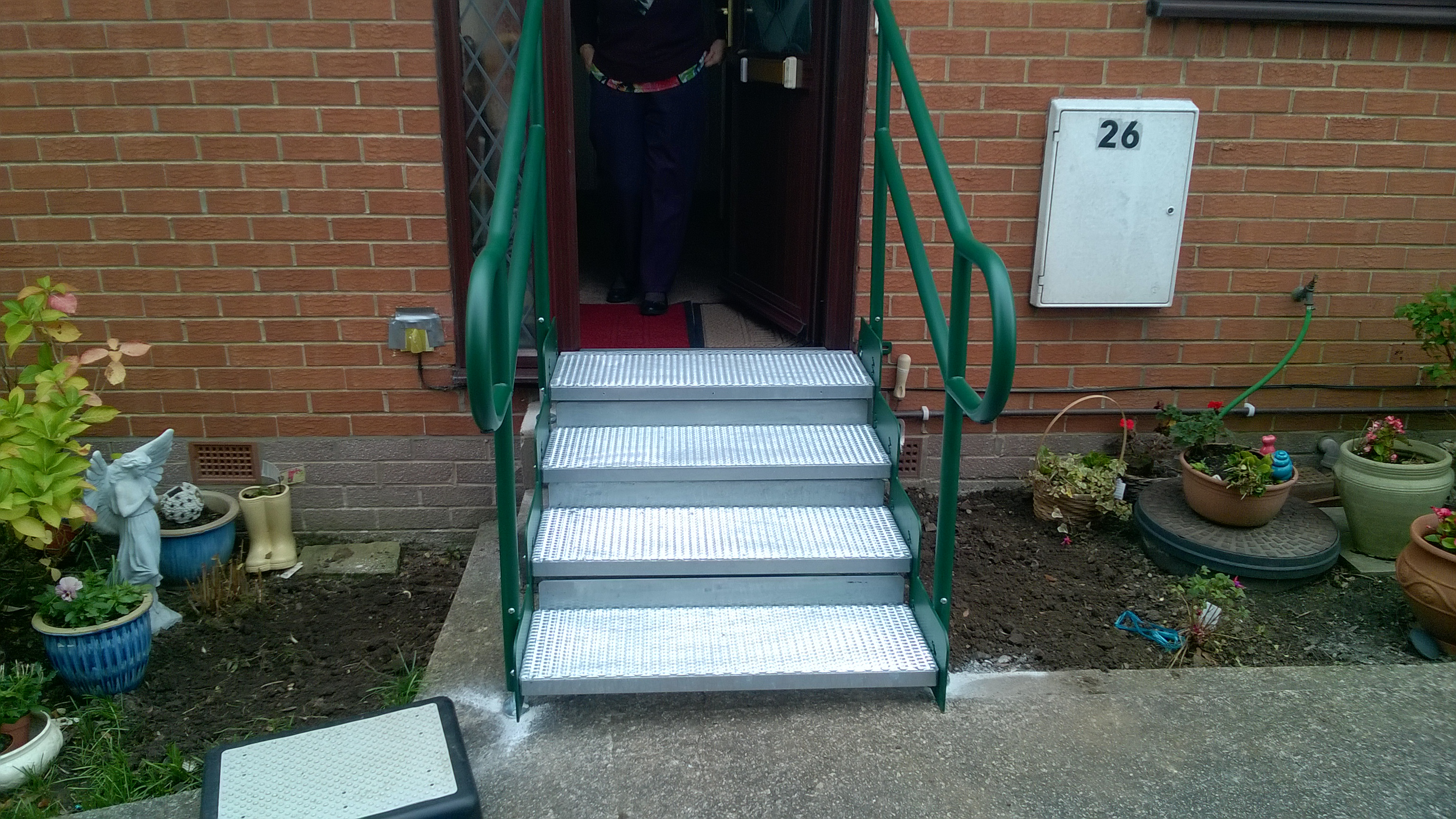 four tread modular steel step unit fitted